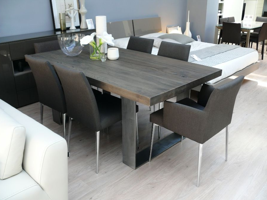 Fashionable New Arrival: Modena Wood Dining Table In Grey Wash Pertaining To Solid Wood Dining Tables (View 4 of 20)