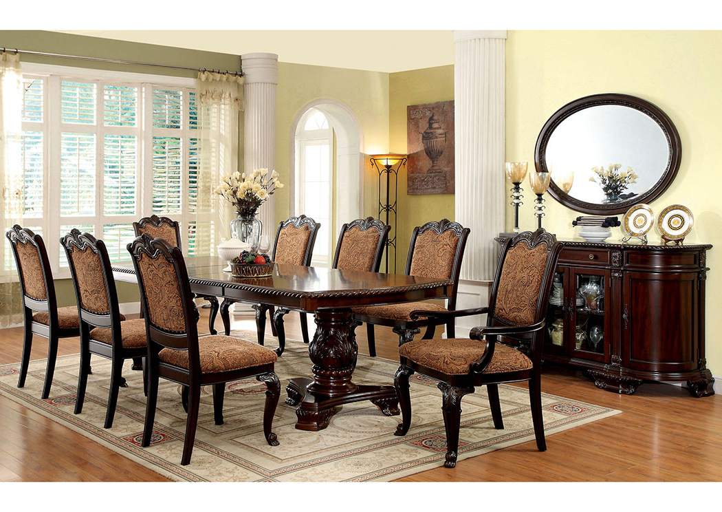 Fashionable Noguez Home Furniture Bellagio Brown Cherry Extension Dining Table W Regarding Craftsman 7 Piece Rectangle Extension Dining Sets With Side Chairs (View 17 of 20)
