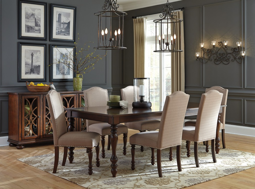 Fashionable Norwood 6 Piece Rectangular Extension Dining Sets With Upholstered Side Chairs Regarding Baxenburg Rect Dining Room Ext Table & 6 Uph Side Chairs (View 13 of 20)
