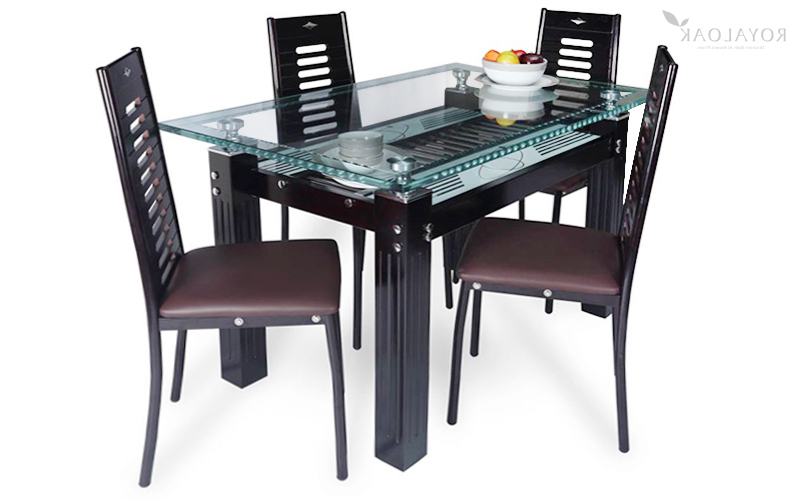 Fashionable Oak Glass Top Dining Tables For Buy Royaloak County 4 Seater Dining Set With Tempered Glass Top And (View 18 of 20)