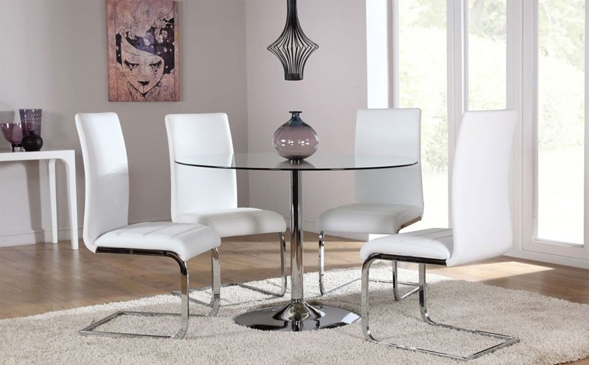 Fashionable Orbit Round Glass & Chrome Dining Table – With 4 Perth White Chairs Throughout Chrome Dining Tables And Chairs (View 10 of 20)