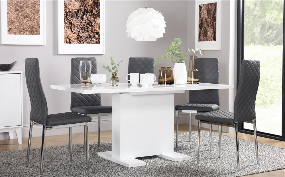 Fashionable Osaka White High Gloss Extending Dining Table With 6 Renzo Grey Throughout Amos Extension Dining Tables (View 19 of 20)