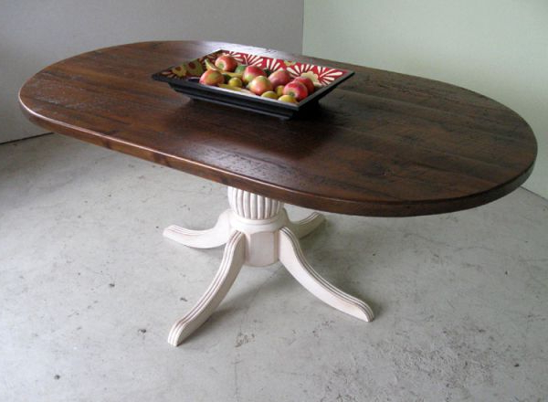 """Fashionable Oval Reclaimed Wood Dining Tables Throughout 90"""" Reclaimed Racetrack Oval Dining Table (View 3 of 20)"""