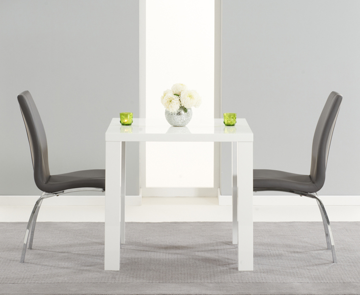 Fashionable Oval White High Gloss Dining Tables Intended For Atlanta 80Cm White High Gloss Dining Table With Cavello Grey Chairs (Gallery 14 of 20)