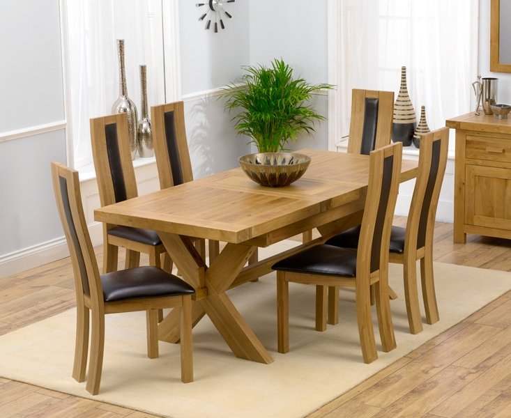 Fashionable Padova Solid Oak 160Cm Extending Dining Set With 4 Esher Brown Chairs With Regard To Extending Dining Room Tables And Chairs (View 13 of 20)