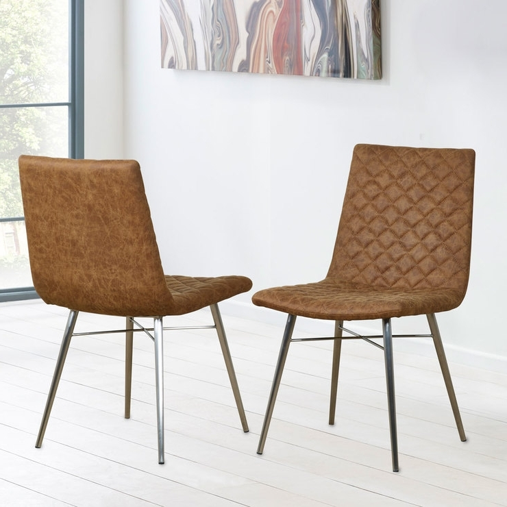 Fashionable Quilted Brown Dining Chairs Pertaining To Brown Faux Leather Quilted Back Dining Chair, 2 Pack (View 7 of 20)