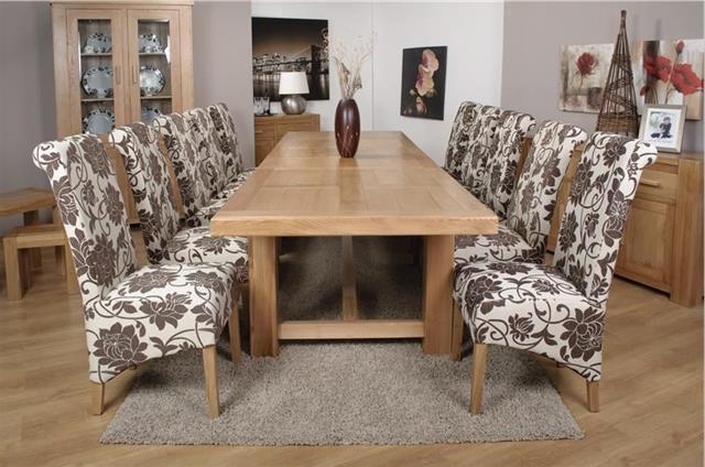 Fashionable Roma Chunky Oak Furniture Large Dining Table Set 320cm With 10 Mia With Roma Dining Tables And Chairs Sets (View 15 of 20)