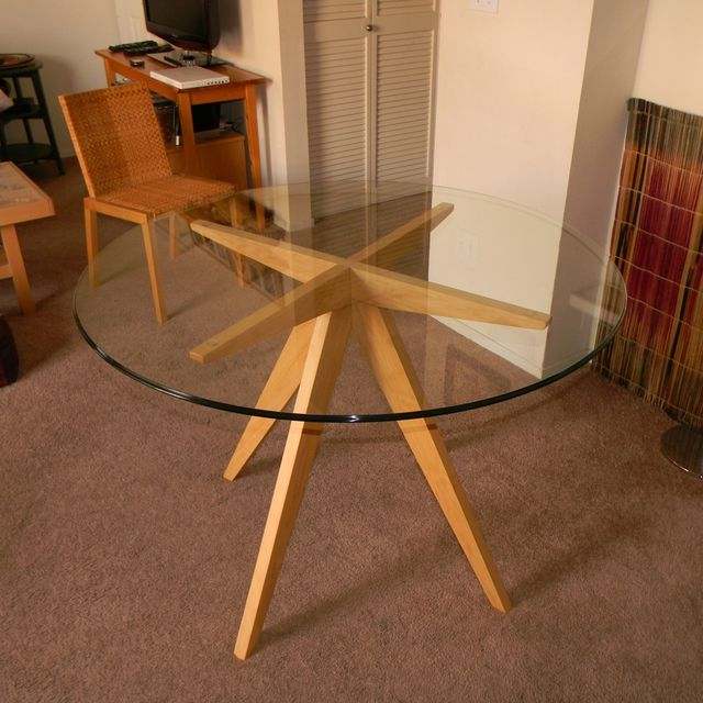 Fashionable Round Glass Dining Tables With Oak Legs Inside Hand Made Ibi's Table Base For Glass Top Dining Tableantikea (View 15 of 20)