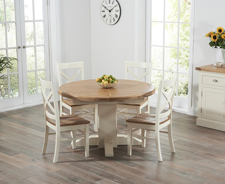 Fashionable Round Oak Extendable Dining Tables And Chairs Inside What Ways To Decorate Your Dining Area With A Cream Dining Table (Gallery 12 of 20)