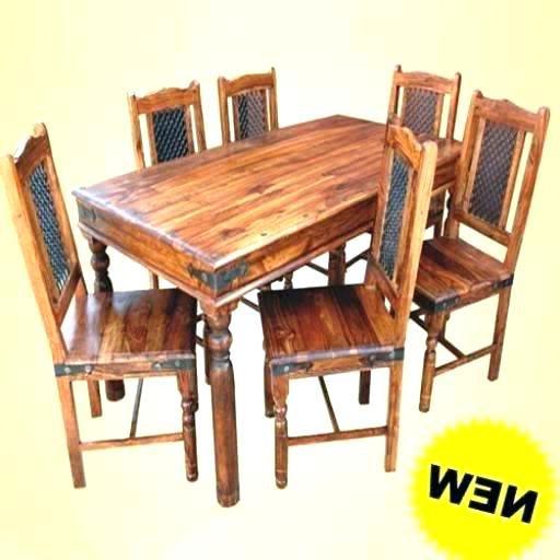 Fashionable Sheesham Dining Table And Chairs Solid Hardwood 6 Furniture Round For Sheesham Dining Tables And Chairs (View 11 of 20)