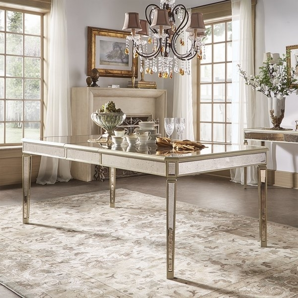 Fashionable Shop Clara Antique Gold Mirrored Extending Dining Tableinspire Q Intended For Antique Mirror Dining Tables (View 10 of 20)