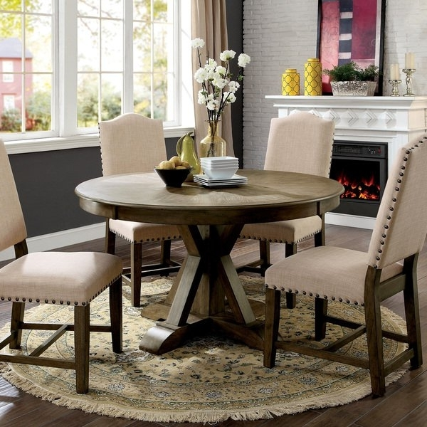 Fashionable Shop Furniture Of America Cooper Rustic Light Oak Round 54 Inch Inside Cooper Dining Tables (View 12 of 20)