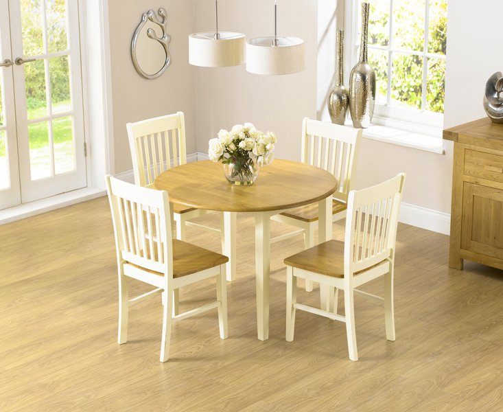 Fashionable Small Extending Dining Tables And 4 Chairs Within Genoa 100Cm Drop Leaf Extending Dining Table Set With Chairs (View 2 of 20)