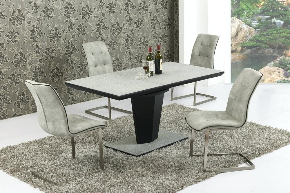 Fashionable Small Extending Dining Tables And Chairs In Black Glass Extending Dining Table 6 Chairs Black Extendable Dining (View 5 of 20)
