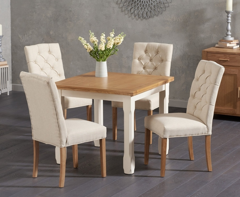 Fashionable Somerset 90cm Flip Top Oak And Cream Dining Table With Candice Cream In Candice Ii 5 Piece Round Dining Sets (View 2 of 20)