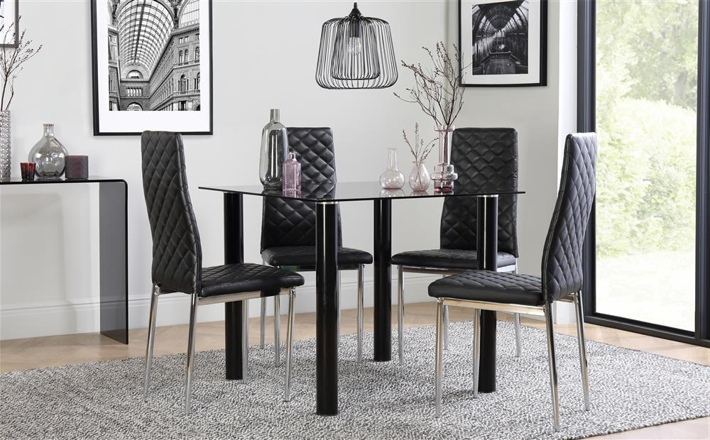 Fashionable Square Black Glass Dining Tables Pertaining To Nova Square Black Glass Dining Table With 4 Renzo Black Chairs (View 19 of 20)
