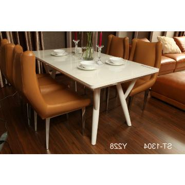 Fashionable St 1304, China Tempered Glass In Cream Color And Mdf Dining Table In High Gloss Cream Dining Tables (View 5 of 20)