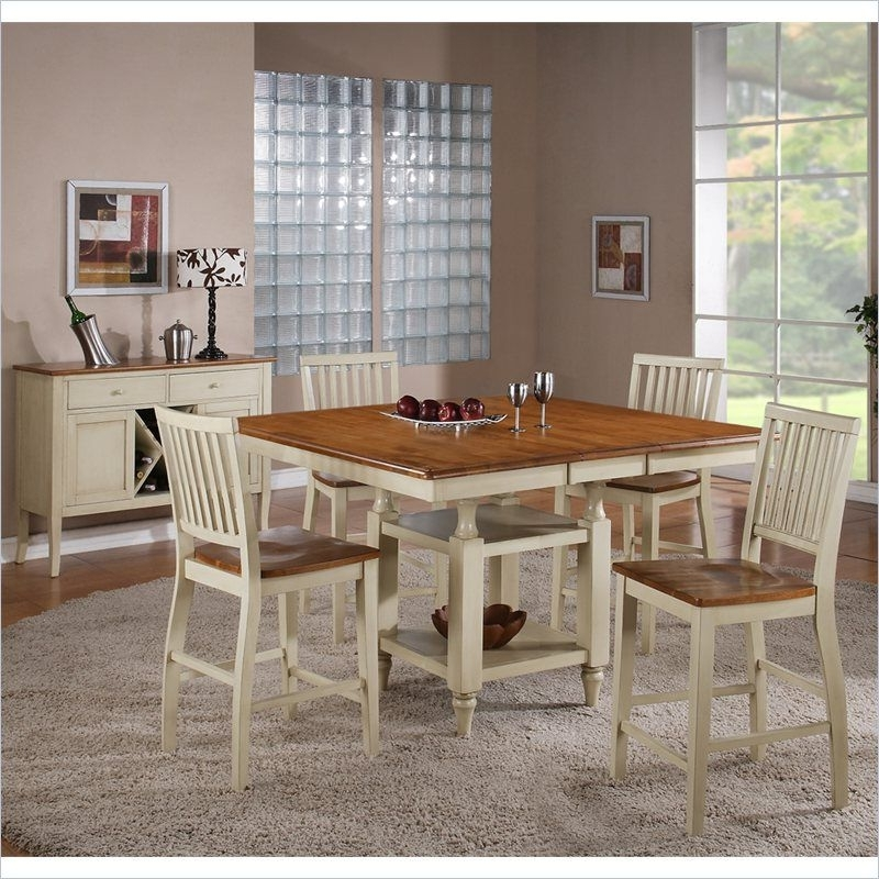 Fashionable Steve Silver Company Candice 5 Piece Counter Dining Table Set In Oak Within Candice Ii 5 Piece Round Dining Sets (View 12 of 20)