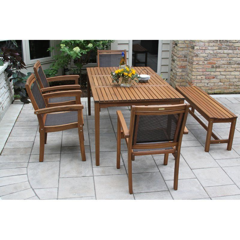 Fashionable The Bay Isle Home 6 Pieces Brazilian Eucalyptus And Sling Dining Set Pertaining To Jaxon 6 Piece Rectangle Dining Sets With Bench & Wood Chairs (View 7 of 20)