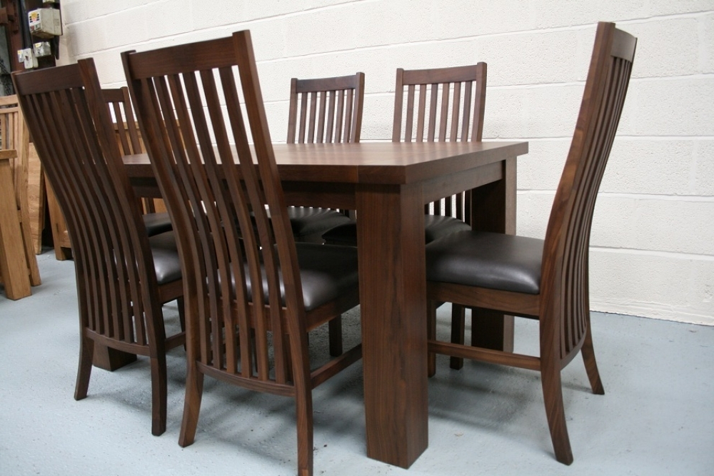 Fashionable Walnut Dining Tables And Chairs Regarding Solid Walnut Dining Table Chairs Wooden Dining Room Chairs (View 18 of 20)