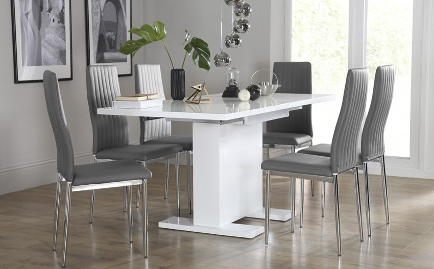 Fashionable White Extending Dining Tables And Chairs For Osaka White High Gloss Extending Dining Table – With 6 Leon Grey (View 7 of 20)