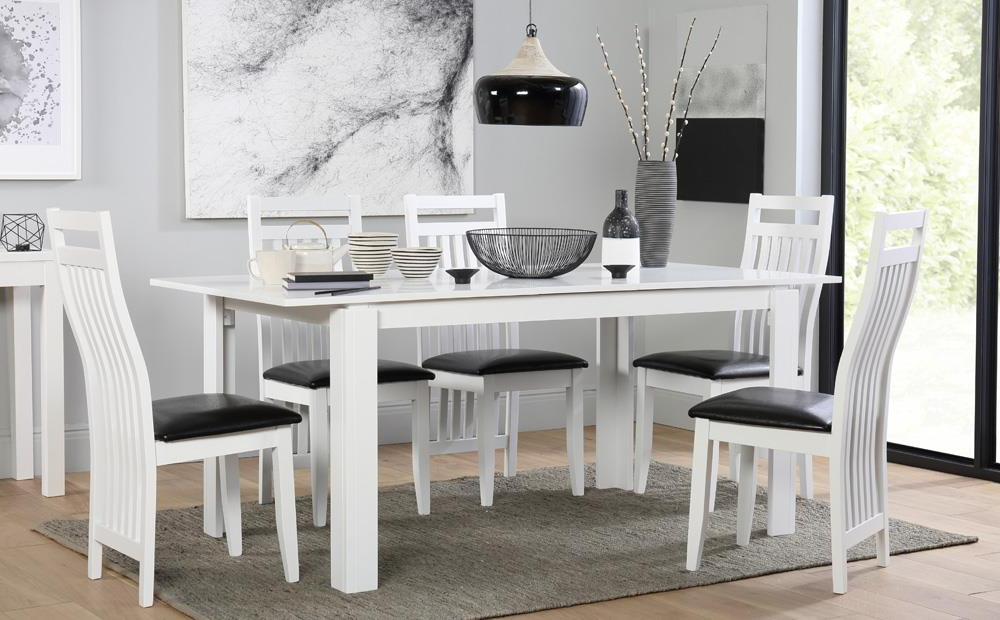 Fashionable White Extending Dining Tables And Chairs With Regard To Aspen White Extending Dining Table And 6 Chairs Set (Java) Only (View 8 of 20)