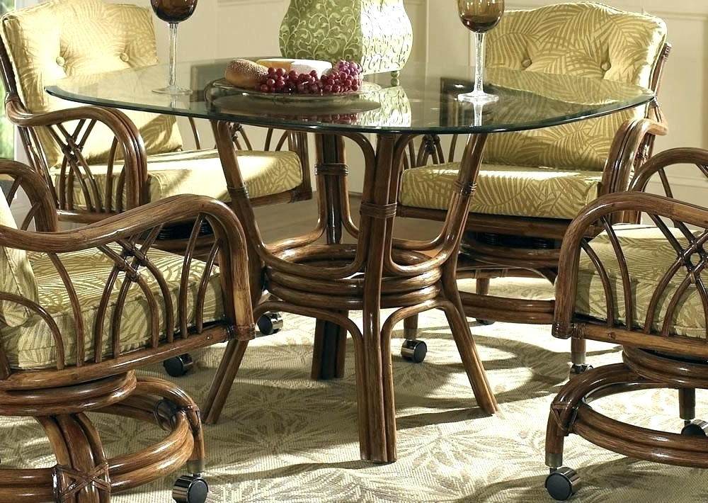 Fashionable Wicker And Glass Dining Tables In Decoration: Glass And Rattan Dining Set (View 5 of 20)