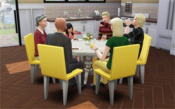 Favorite 6 Seat Round Dining Tables Intended For Veranka: 6 Seat Round Dining Tables • Sims 4 Downloads (View 9 of 20)