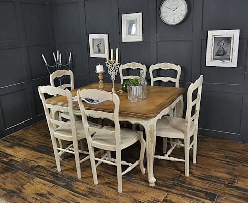 Favorite 6 Seater Cream Extending Shabby Chic French Dining Setthe For Shabby Chic Cream Dining Tables And Chairs (View 12 of 20)
