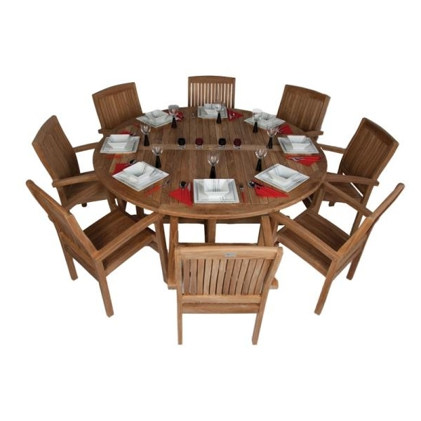Favorite 8 Seat Outdoor Dining Set – 180Cm Dia Round Wooden Table Grade A Regarding 8 Seat Outdoor Dining Tables (View 13 of 20)