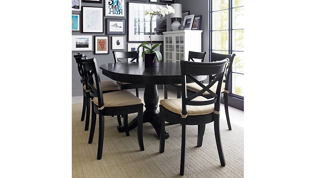 "Favorite Black Extendable Dining Tables Sets Regarding Avalon 45"" Black Round Extension Dining Table + Reviews (View 9 of 20)"