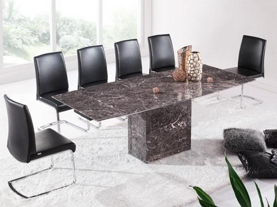 Favorite Brown & Grey Extending Dining Table & 6 Chairs (Marble) – Kk In Extending Marble Dining Tables (Gallery 12 of 20)