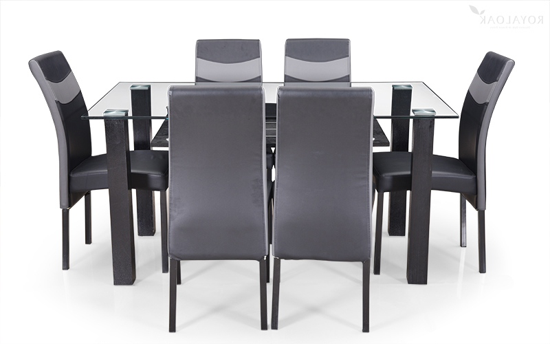 Favorite Buy Royaloak Micra 6 Seater Dining Set With Tempered Glass Top And Pertaining To Six Seater Dining Tables (View 6 of 20)