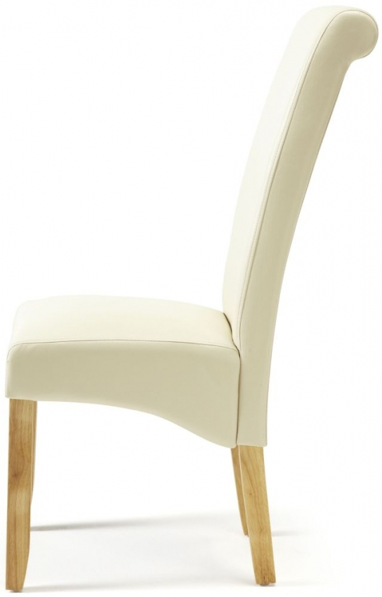Favorite Buy Serene Kingston Cream Faux Leather Dining Chair With Oak Legs Regarding Oak Leather Dining Chairs (Gallery 18 of 20)