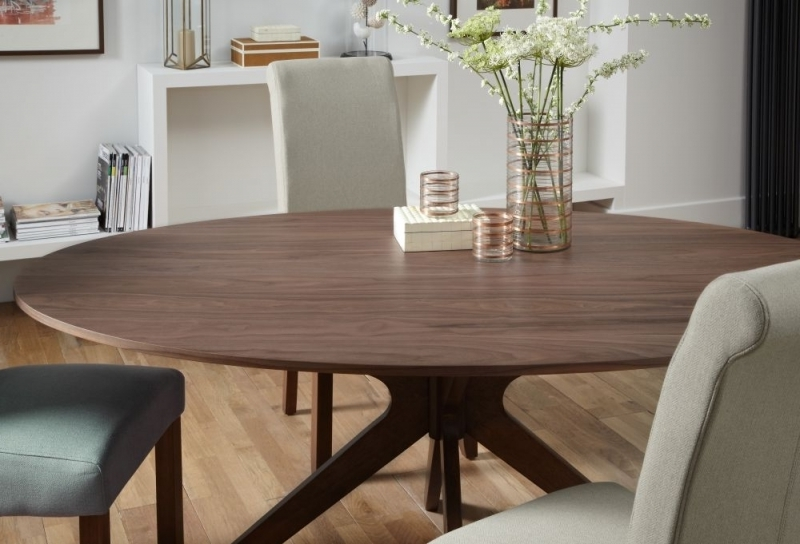 Favorite Buy Serene Waltham Walnut Oval Fixed Top Dining Table – 180cm Online Pertaining To 180cm Dining Tables (View 9 of 20)