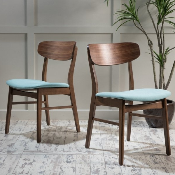 Favorite Caden 6 Piece Dining Sets With Upholstered Side Chair Within Shop Christopher Knight Fabric Upholstered Wood Dining Chairs (set (View 11 of 20)