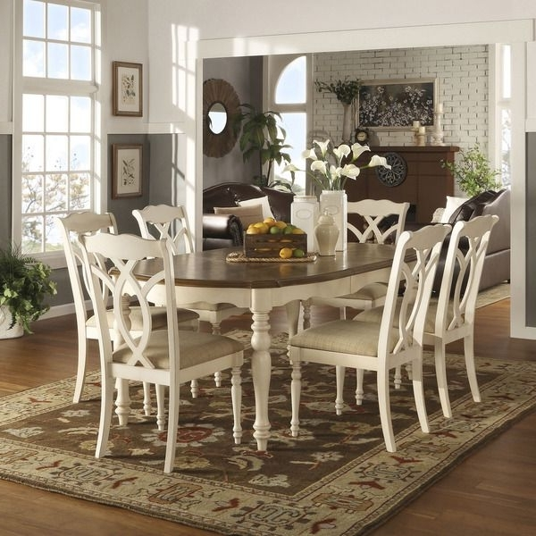 Favorite Chandler 7 Piece Extension Dining Sets With Fabric Side Chairs In Tribecca Home Shayne Country Antique Two Tone White 7 Piece (View 15 of 20)