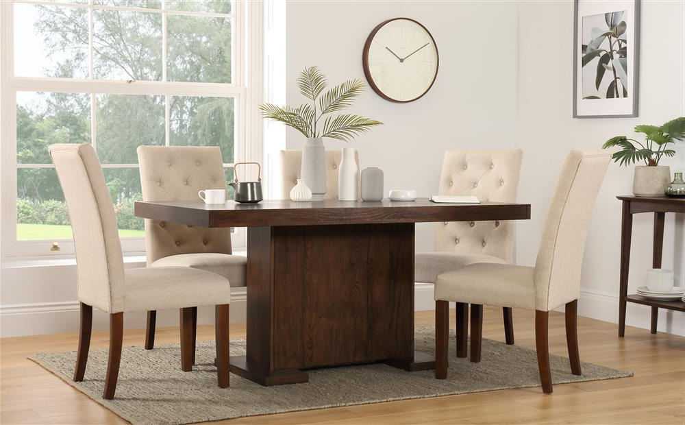Favorite Chilton 160cm Walnut Dining Table With 6 Hatfield Oatmeal Chairs Pertaining To Walnut Dining Table And 6 Chairs (View 17 of 20)