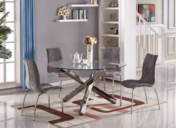Favorite Chrome Glass Dining Tables Throughout Vogue Large Round Chrome Glass Dining Table (View 12 of 20)