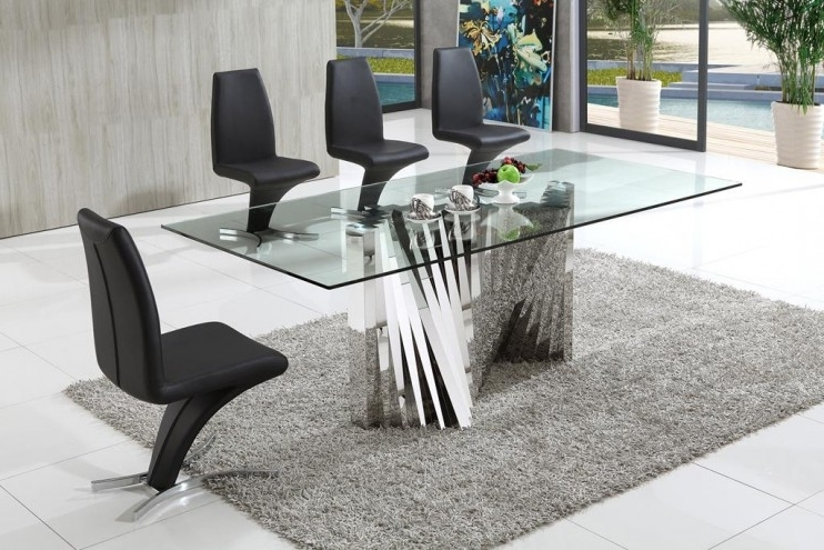 Favorite Clear Glass Dining Tables And Chairs Throughout Plisset Italian Designs Clear Glass Dining Table With Aldo Faux (View 14 of 20)