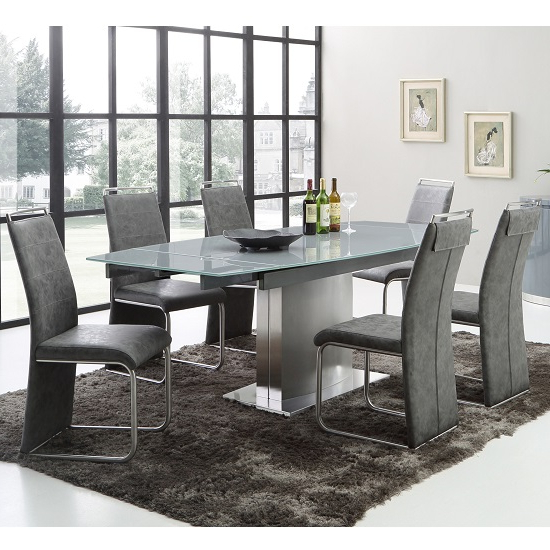 Favorite Cruise Extendable Dining Table In Grey Glass And 6 Dining In Extending Dining Tables Sets (View 13 of 20)