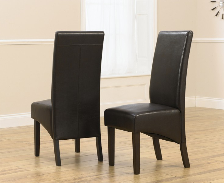 Favorite Dark Brown Leather Dining Chairs With Regard To Verona Dark Brown Faux Leather Dining Chair With Dark Brown Legs (A (Gallery 4 of 20)