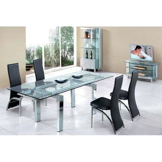 Favorite Extendable Glass Dining Tables And 6 Chairs In Extendable Glass Dining Table And 6 Chairs Black Wood Tables Modern (View 15 of 20)