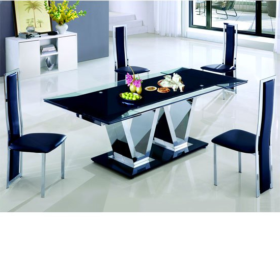 Favorite Extendable Glass Dining Tables Throughout Nico Extending Glass Dining Table And 6 Leather Dining (View 7 of 20)