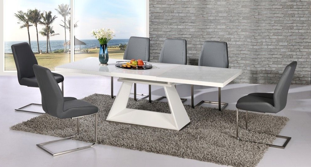 Favorite Extending Glass Dining Tables And 8 Chairs In White High Gloss Extending Dining Table And 8 Grey Chairs Set With (View 11 of 20)