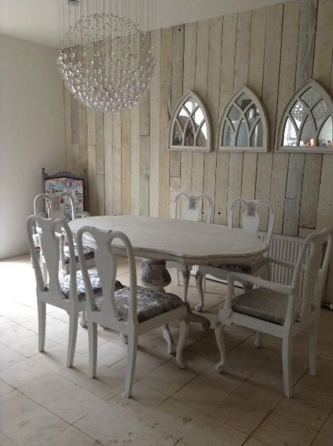 Favorite French Style Shabby Chic Dining Table & 6 Chairs Brand New Silver Within French Chic Dining Tables (View 9 of 20)