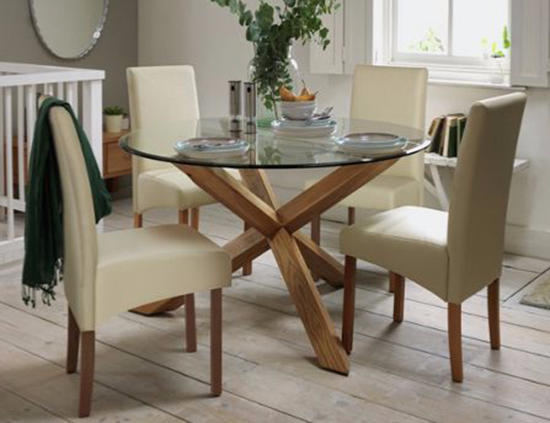 Favorite Glass Dining Table Chairs Sets Furniture Choice Within For Ideas 7 With Regard To Glass And Oak Dining Tables And Chairs (Gallery 19 of 20)