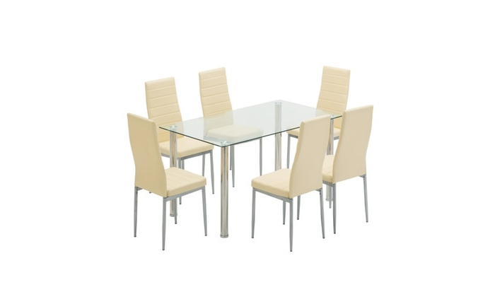 Favorite Glass Dining Table Set With Leather Chairs Kitchen Furniture Beige In Glass Dining Tables And Leather Chairs (View 3 of 20)