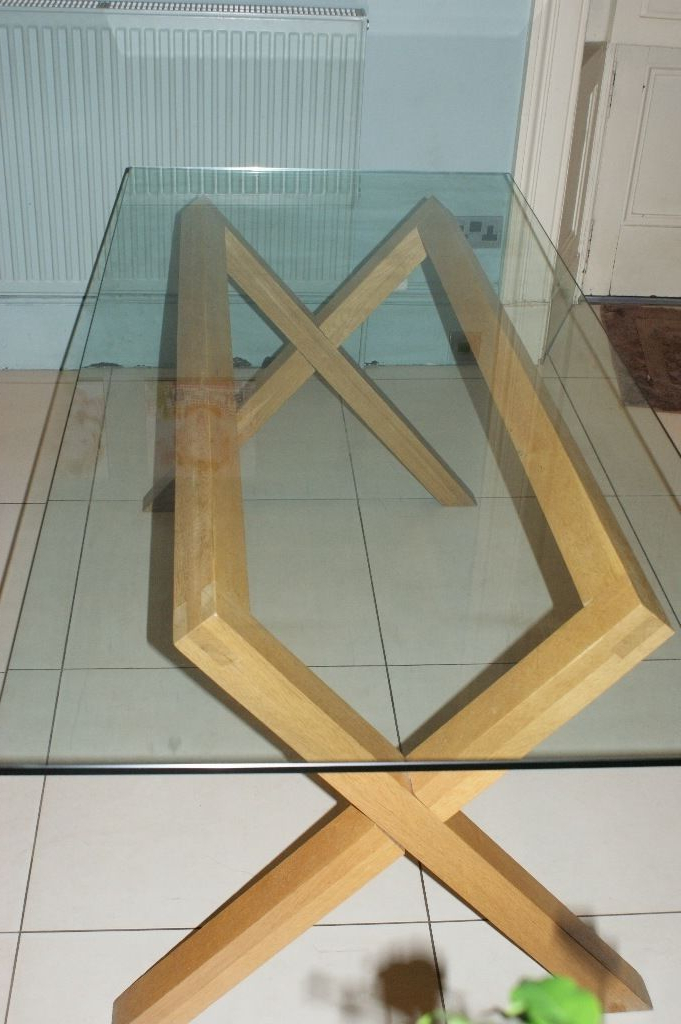 Favorite Glass Dining Tables With Oak Legs For Habitat Dublin Glass Dining Table With Oak Legs – Used And Very Good (View 6 of 20)