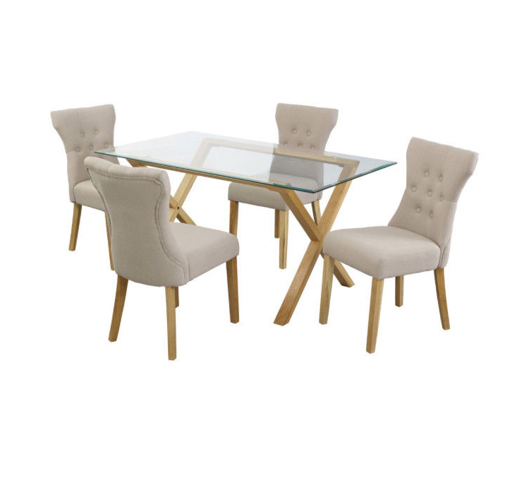 Favorite Glass & Oak Dining Table With 4 X Fabric Chairs (View 6 of 20)